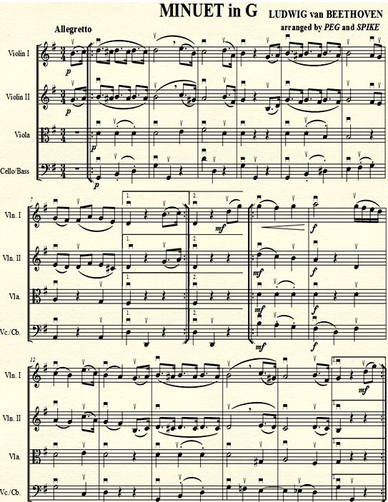 BEETHOVEN MINUET in G 1 :: StringQuest